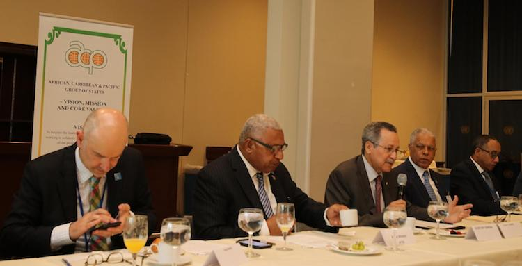 Photo: ACP Secretary General Dr. Patrick Gomes welcomes participants to high level breakfast meeting on SIDS and the blue economy, hosted by the ACP Secretariat in the margins of the UN Ocean Conference. On his right is the Fiji PM Voreqe Bainimarama