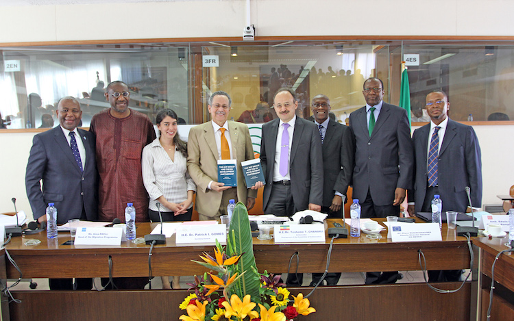 Photo (from left to right): Ambassador Samuel Outlule of Botswana; Professor Adekeye Adebajo of the University of Johannesburg, South Africa; Anna Knoll, Head of the ECDPM Migration Programme; ACP Secretary General Dr. Patrick I. Gomes;  Klaus Rudischhauser, Deputy Director General of European Commission's DG DEVCO; Ambassador Edwin Laurent, Head of the Ramphal Institute; Ambassador Dr Kaire Mbuende of Namibia; Ambassador Baso Sangqu of South Africa. Credit: ACP