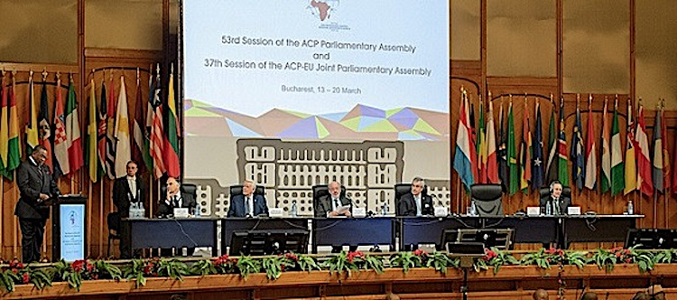 Photo: The 37th plenary of the Joint Parliamentary Assembly (JPA) was formally opened on 18 March in Bucharest, Romania. Credit: ACP Press