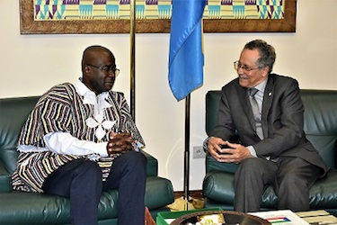 ACP Secretary-General Dr. Patrick I. Gomes (right) with Abdoul Karim Sango Minister of Culture, Arts and Tourism of Burkina Faso (left).