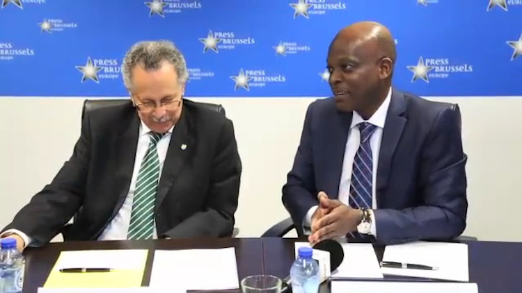Photo: ACP chief negotiator Professor Robert Dussey, Minister of Foreign Affairs, Cooperation and African Integration from Togo addressing a press conference in Brussels. On the left is ACP Secretary-General Dr Patrick I Gomes.